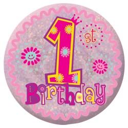 Badge Sml HoloG Happy 1st BD - Girl