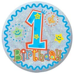 Badge Sml HoloG Happy 1st BD - Boy