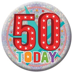 Badge Lge HoloG Hapy 50th BD