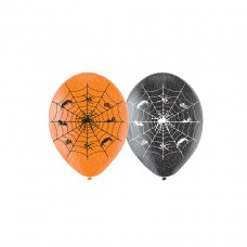 Spider Web Latex Balloons pk6 27.5cm