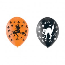 Witches/Cat Latex Balloons pk6 27.5cm