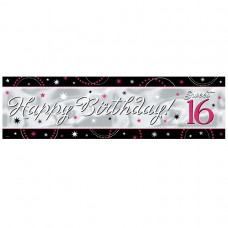 Sweet 16 Glitter Metallic Giant Sign Banner