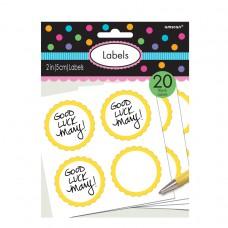 LABELS SCALLOPED YLW SUNSHINE