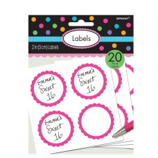 LABELS SCALLOPED BRIGHT PINK