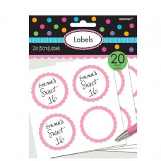 LABELS SCALLOPED NEW PINK