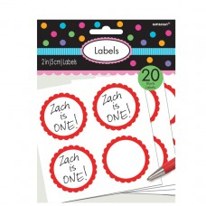 LABELS SCALLOPED APPLE RED