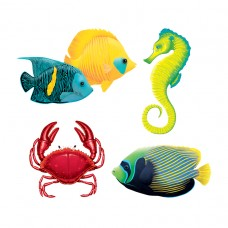 Hawaiian Themed Party Tropical Fish Assorted Cut-outs