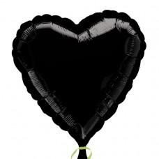 Metallic Black Heart Foil Balloon