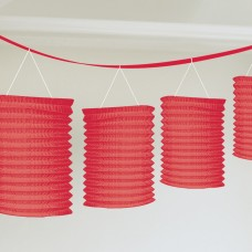 LANTERN PPR GARLAND RED