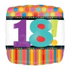 18 SQ BDAY DOTS & STRIPES 18TH