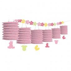 Pink Lantern Garland with Flowers