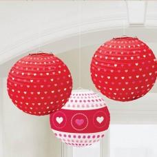 Printed Hearts Paper Lanterns 24cm