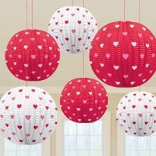 Printed Hearts Mini Lanterns