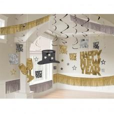black/silver/gold gaint room decorating kit