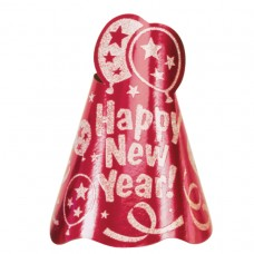 CONE HAT NY FOIL GLTR RED