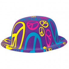 HAT BOWLER PEACE SIGN 60 S