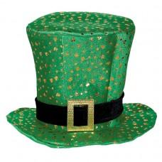 Green & Gold Shamrocks Top Hat