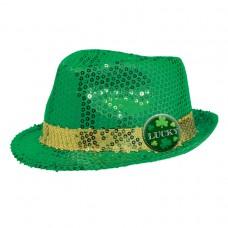 Green Lucky Sequin Fedora Hat