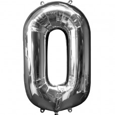 Number 0 Silver Supershape Foil Balloon