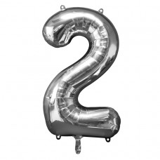 Number 2 Silver Supershape Foil Balloon