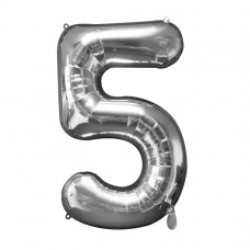 Number 5 Silver Supershape Foil Balloon