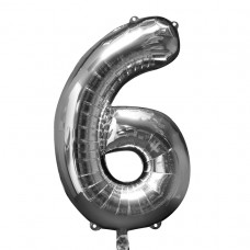Number 6 Silver Supershape Foil Balloon