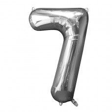 Number 7 Silver Supershape Foil Balloon