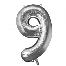 Number 9 Silver Supershape Foil Balloon