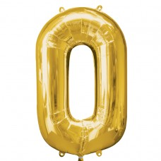 Number 0 Gold Supershape Foil Balloon