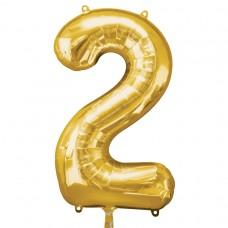 Number 2 Gold Supershape Foil Balloon