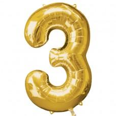 Number 3 Gold Supershape Foil Balloon