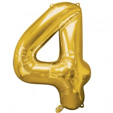 Number 4 Gold Supershape Foil Balloon