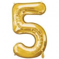 Number 5 Gold Supershape Foil Balloon