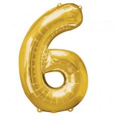 Number 6 Gold Supershape Foil Balloon