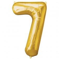 Number 7 Gold Supershape Foil Balloon