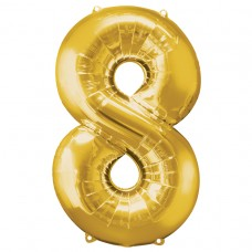 Number 8 Gold Supershape Foil Balloon