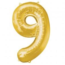 Number 9 Gold Supershape Foil Balloon