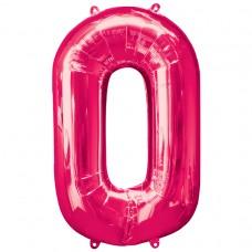 Number 0 Pink Supershape Foil Balloon