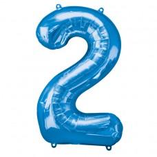 Number 2 Blue Supershape Foil Balloon