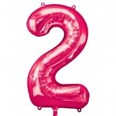 Number 2 Pink Supershape Foil Balloon