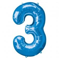 Number 3 Blue Supershape Foil Balloon