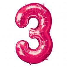 Number 3 Pink Supershape Foil Balloon