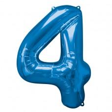 Number 4 Blue Supershape Foil Balloon