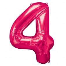 Number 4 Pink Supershape Foil Balloon