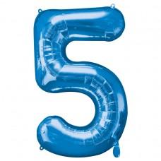 Number 5 Blue Supershape Foil Balloon