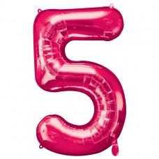 Number 5 Pink Supershape Foil Balloon