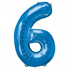 Number 6 Blue Supershape Foil Balloon