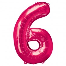 Number 6 Pink Supershape Foil Balloon