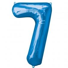 Number 7 Blue Supershape Foil Balloon
