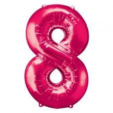 Number 8 Pink Supershape Foil Balloon